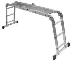 COGEX Viacpolohový hliníkový rebrík + skladacia pozinkovaná plošina (062876)
