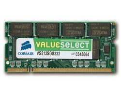 CORSAIR Pamäť Value Select SO-DIMM 1 GB PC 2700 (VS1GSDS333) - záruka 10 rokov