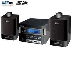 H&B Mikro veža MP3/SD/MMC/USB HF-250i + Puzdro RBNW34 na CD/DVD - čierne