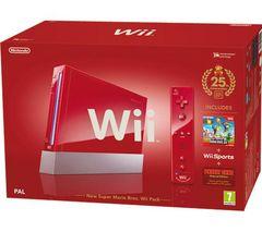 NINTENDO Konzola Wii červená + New Super Mario Bros - Vydanie 25. narodeniny
