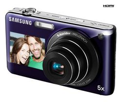 SAMSUNG ST600 - Digital camera - compact - 14.2 Mpix - optical zoom: 5 x - supported memory: microSD, microSDHC - violet + Kompaktné kožené puzdro Pix 11 x 3,5 x 8 cm + Pamäťová karta SDHC 8 GB