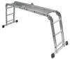 Viacpolohový hliníkový rebrík + skladacia pozinkovaná plošina (062876)