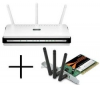 D-LINK Router WiFi DIR-655 switch 4 porty + Karta PCI WiFi Rangebooster N650 Draft 802.11n DWA-547 + Hub USB Plus 4 Porty USB 2.0 Mac/PC - hnedý