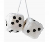 RACE SPORT Hracie kocky z plyšu biele (7 x 7 cm)