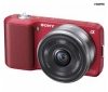 SONY Alpha  NEX-3A červený + objektív 16 mm + Puzdro TBC4 + Pamäťová karta SDHC 16 GB + Batéria lithium-ion NPF-W50 P/NEX