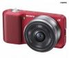 SONY Alpha  NEX-3A červený + objektív 16 mm + Ruksak Expert Shot Digital - čierny/oranžový  + Pamäťová karta SDHC 16 GB + Batéria lithium-ion NPF-W50 P/NEX + Trojnožka PANORAMIC